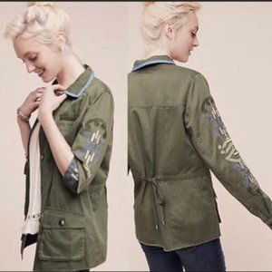 Anthropologie Embroidered Army Utility Jacket